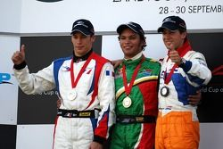 Podium, Adrian Zaugg, pilote A1 Equipe d'Afrique du Sud, Loic Duval, pilote A1 Equipe de France, Jeroen Bleekemolen, pilote A1 Equipe des Pays-Bas