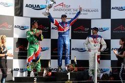 Podium, Adrian Zaugg, pilote A1 Equipe d'Afrique du Sud, Oliver Jarvis, pilote A1 Equipe de Grande Bretagne, Neel Jani, pilote A1 Equipe de Suisse