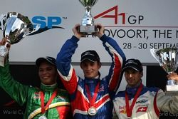 Podium, Oliver Jarvis, driver of A1 Team Great Britain, Adrian Zaugg, driver of A1 Team South Africa