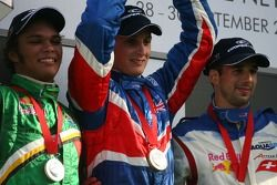 Podium, Adrian Zaugg, driver of A1 Team South Africa, Oliver Jarvis, driver of A1 Team Great Britain