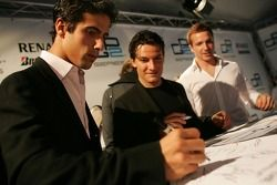 Lucas di Grassi, Giorgio Pantano and Jason Tahinci