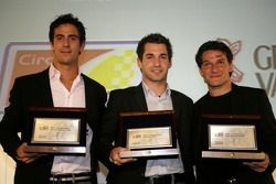2007 GP2 Series champion, Timo Glock collects his award along with Lucas di Grassi and Giorgio Pant