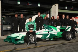 Adam Khan, driver of A1 Team Pakistan with the team
