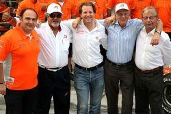 l-r, Colin Kolles, Spyker F1 Team, Team Principal, Dr Vijay Mallya, Kingfisher, Michiel Mol, Directo