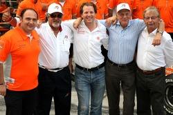 l-r, Colin Kolles, Spyker F1 Team, Team Principal, Dr Vijay Mallya, Kingfisher, Michiel Mol, Director of Formula One Racing, Spyker, Jan Mol and Fred Mulder, Spyker