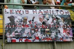 Some of the fans are getting a bit early on the Lewis Hamilton, McLaren Mercedes celebrations