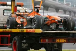 The car of Adrian Sutil, Spyker F1 Team, after he crashed during the race