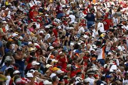 Fans of Tony Stewart cheer on as their driver is introduced
