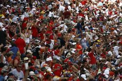 Fans of Dale Earnhardt Jr. cheer on as their driver is introduced