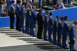 The NAPA Auto Parts Toyota crew during National Anthem