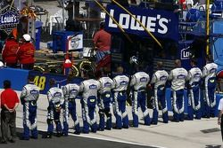 The Lowe's Chevy crew during National Anthem
