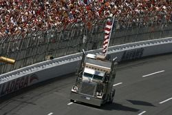 The traditional truck with the American Flag