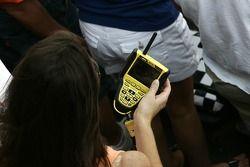 A fan watches her NASCAR Fan View
