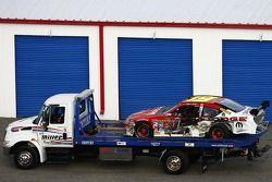 The wrecked car of Elliott Sadler