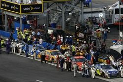 The top finishers on pit road