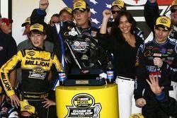 Victory lane: race winner Jeff Gordon celebrates with wife Ingrid