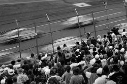 Talladega fans cheer on as Dale Earnhardt Jr. leads the field