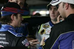 Jeff Gordon discusses with Jimmie Johnson and crew chief Chad Knaus