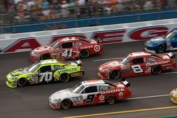 Johnny Sauter, Kasey Kahne, Reed Sorenson and Dale Earnhardt Jr. battle three wide