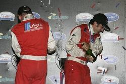 GT1 podium: champagne for Fredy Lienhard and Andrea Bertolini