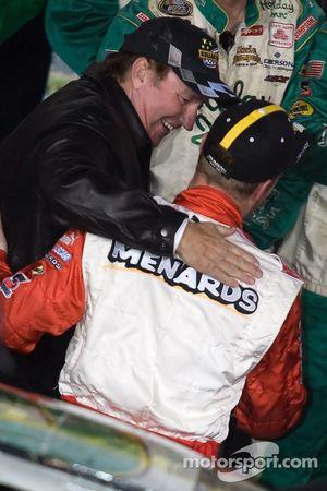 Victory lane: Dale Earnhardt Jr. congratulates Richard Childress