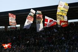 Banners from the fans on the grandstand
