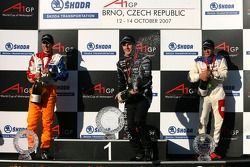 Podium: race winner Jonny Reid with second place Jeroen Bleekemolen and third place Neel Jani