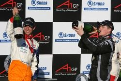 Podium: race winner Jonny Reid with second place Jeroen Bleekemolen