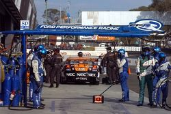Steven Richards waits for Mark Winterbottom to pit