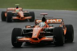 Adrian Sutil, Spyker F1 Team, F8-VII-B and Sakon Yamamoto, Spyker F1 Team, F8-VII-B