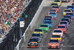 Green flag: Jeff Gordon and Martin Truex Jr. lead the field