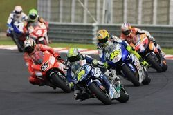 Toni Elias followed by Valentino Rossi and Loris Capirossi