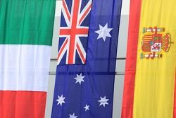 Podium winners flags