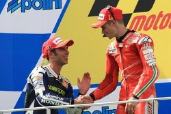 Podium: race winner Casey Stoner and second place Marco Melandri