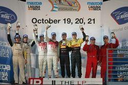 Class winners podium: GT1 winners Oliver Gavin and Olivier Beretta, P1 and overall winners Rinaldo Capello and Allan McNish, P2 winners Romain Dumas and Timo Bernhard, GT2 winners Mika Salo and Jaime Melo