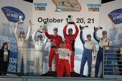 GT2 podium: class winners Jaime Melo and Mika Salo