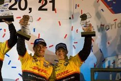 P2 podium: second place Sascha Maassen and Ryan Briscoe