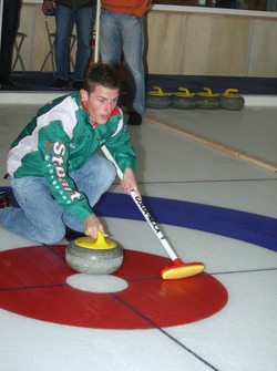 Jari-Matti Latvala plays curling