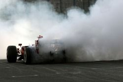 Luca Badoer performs donuts
