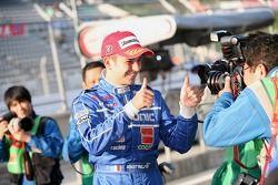 Benoit Treluyer celebrates pole position