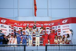 GT500 podium: class and overall winners Loic Duval and Fabio Carbone, second place Benoit Treluyer and Kazuki Hoshino, third place Katsutomo Kaneishi and Toshihiro Kaneishi