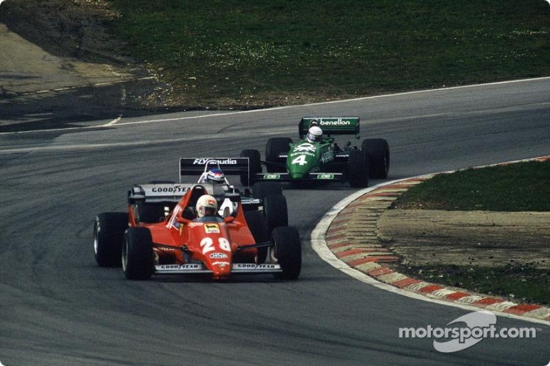 René Arnoux, Ferrari 126C2B lidera a Keke Rosberg y Danny Sullivan