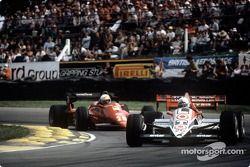 Andrea de Cesaris, Ligier JS23, Rene Arnoux, Ferrari 126C4