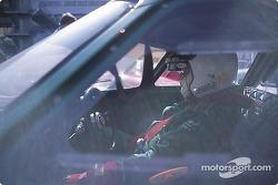 David Piper waits in his Ferrari