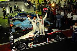Race winner Marc Gene and 2007 Le Mans Series champion Pedro Lamy celebrate