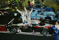 Race winner Marc Gene and 2007 Le Mans Series champion Pedro Lamy celebrate