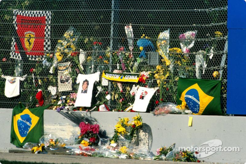 Eerbetoon aan Ayrton Senna in Tamburello