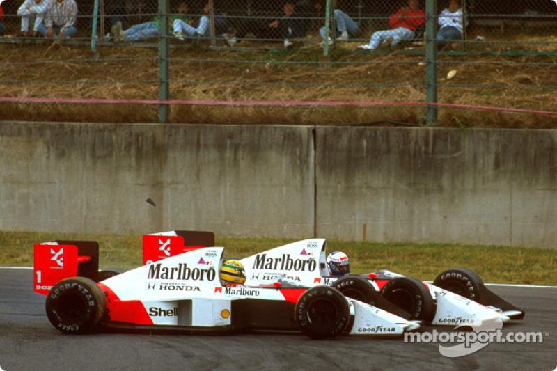 El choque infame de Ayrton Senna y Alain Prost en la vuelta 46
