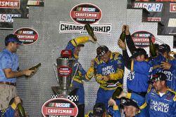Championship victory lane: 2007 NASCAR Craftsman Truck Series champion Ron Hornaday celebrates