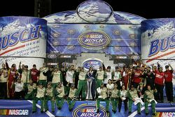 Championship victory lane: 2007 NASCAR Busch Series owner championship winner Richard Childress celebrates with race winner Jeff Burton and Childress Racing crew members